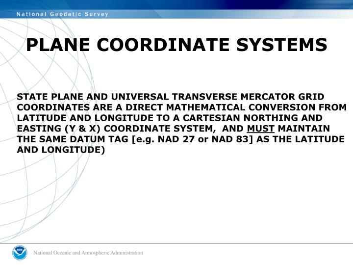 PLANE COORDINATE SYSTEMS
