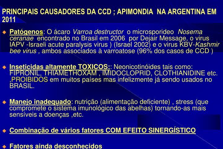 PRINCIPAIS CAUSADORES DA CCD ; APIMONDIA  NA ARGENTINA EM 2011