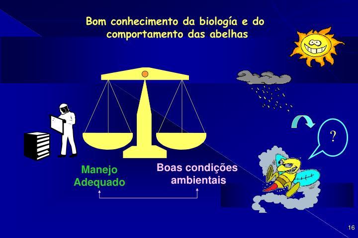 Bom conhecimento da biología e do