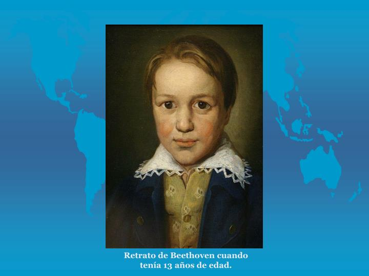 Retrato de Beethoven cuando tena 13 aos de edad.
