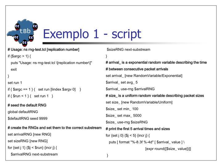 Exemplo 1 - script