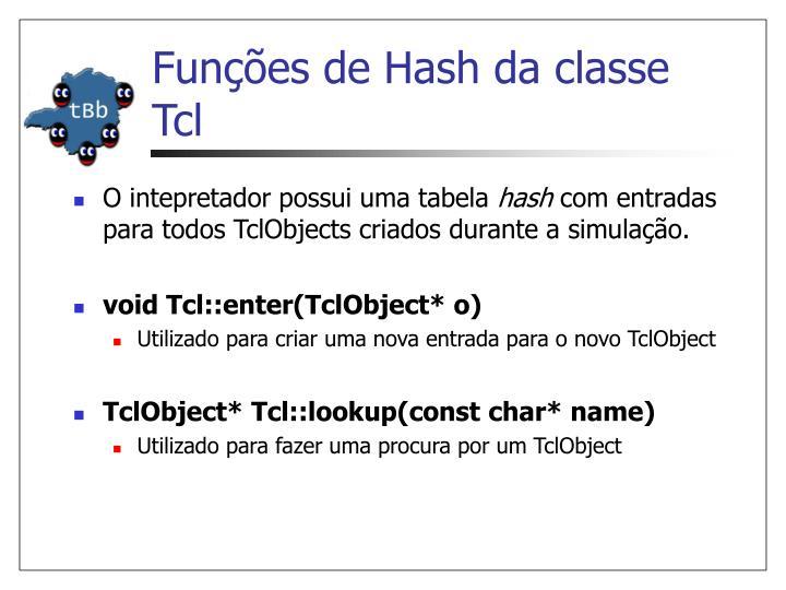 Funções de Hash da classe Tcl