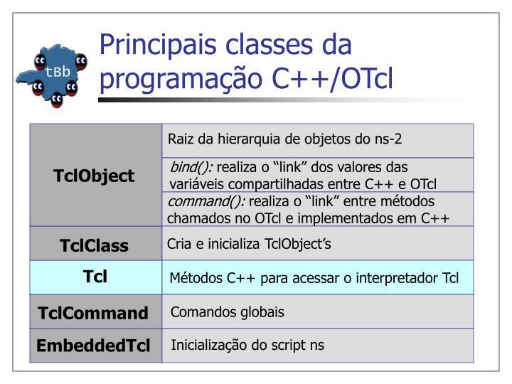 Principais classes da programação C++/OTcl