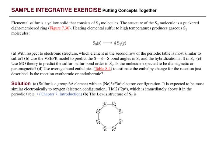 SAMPLE INTEGRATIVE EXERCISE