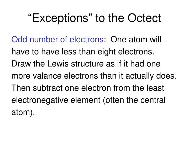 """Exceptions"" to the Octect"