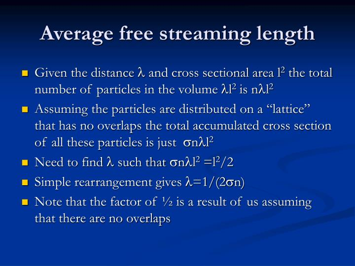 Average free streaming length