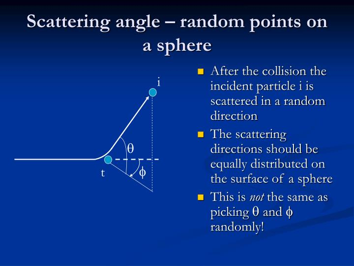 Scattering angle – random points on a sphere
