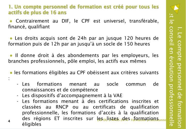 I. Le compte personnel de formation