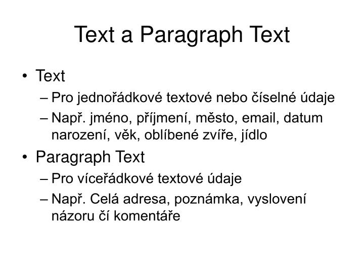 Text a Paragraph Text