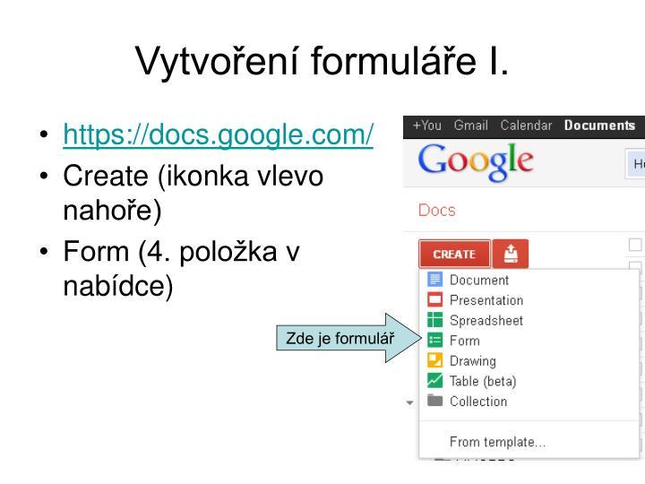 Vytvoření formuláře I.