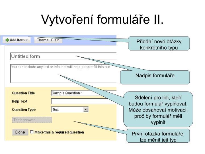 Vytvoření formuláře II.