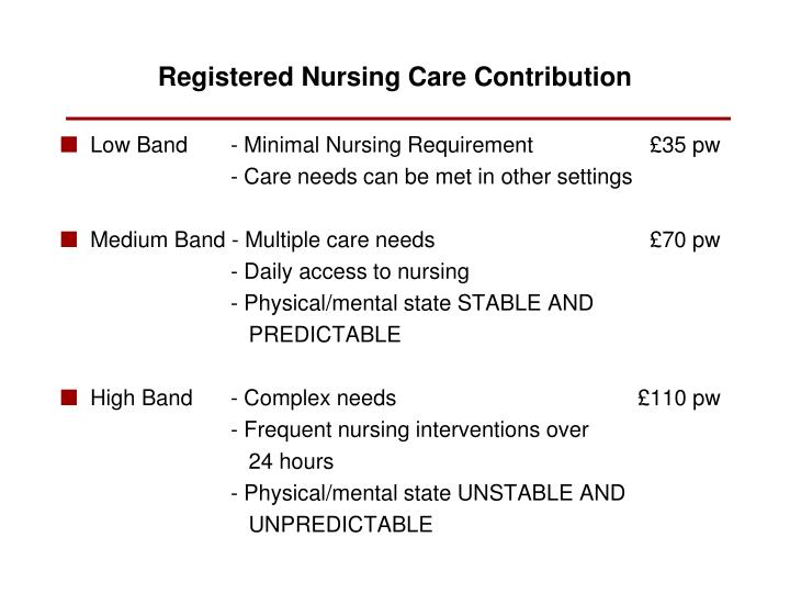 Low Band  - Minimal Nursing Requirement      £35 pw