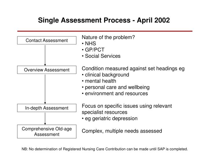 Single Assessment Process - April 2002