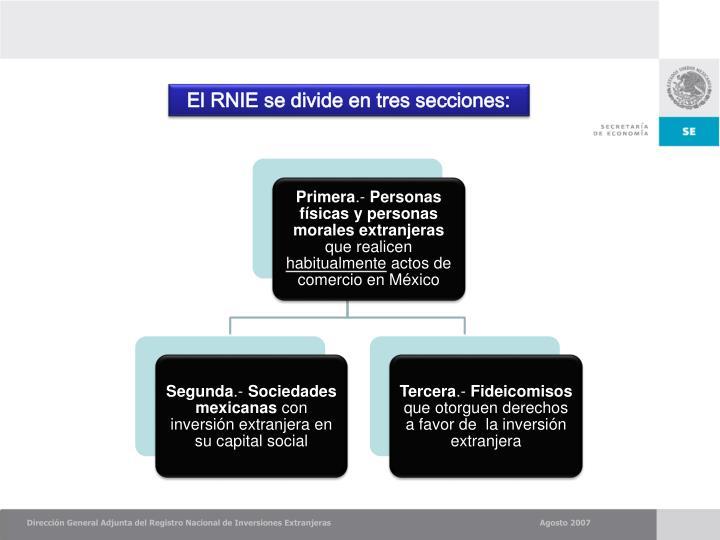 El RNIE se divide en tres secciones:
