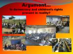 argument is democracy and children s rights present in reality