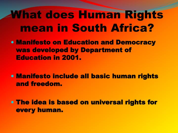 What does Human Rights mean in South Africa?