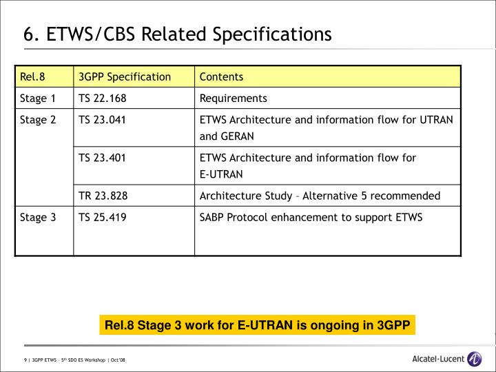 6. ETWS/CBS Related Specifications