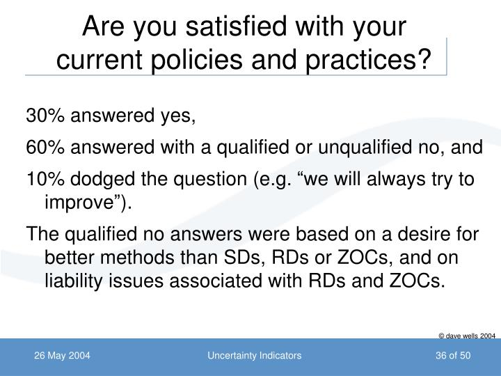 Are you satisfied with your current policies and practices?