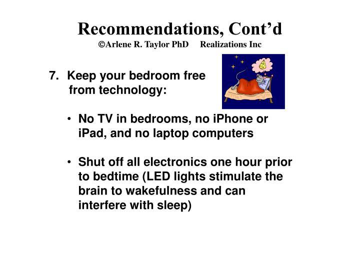 Recommendations, Cont'd