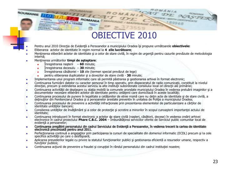 OBIECTIVE 2010