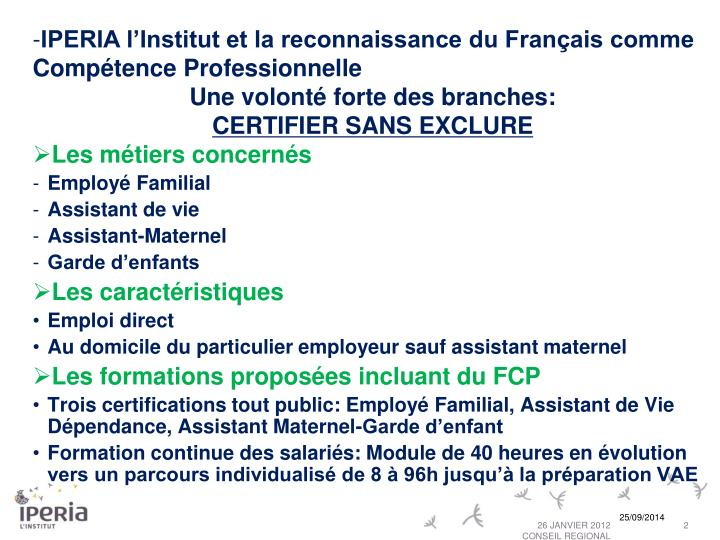 IPERIA l'Institut et la reconnaissance du Français comme Compétence Professionnelle