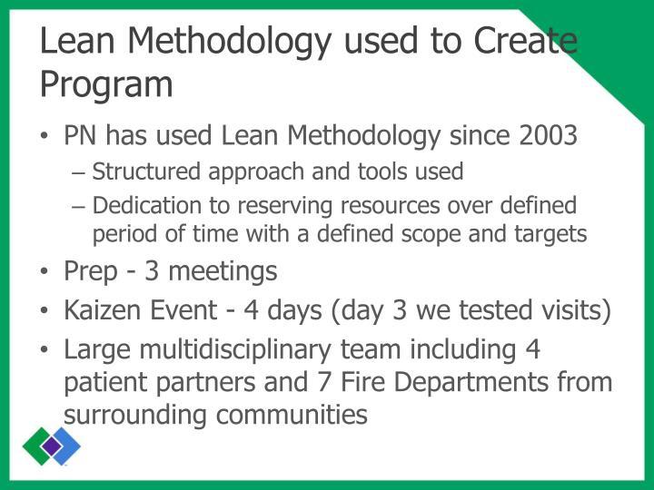 Lean Methodology used to Create Program