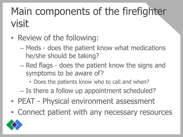 Main components of the firefighter visit