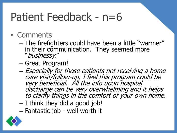 Patient Feedback - n=6