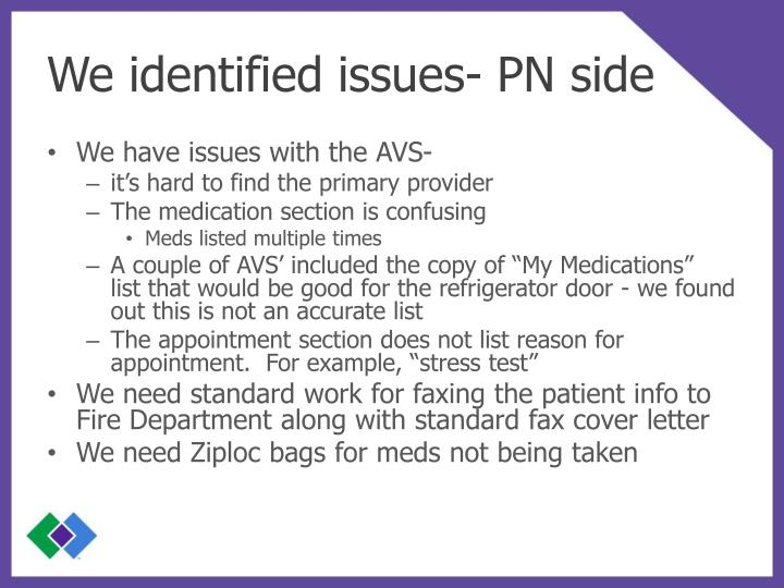 We identified issues- PN side