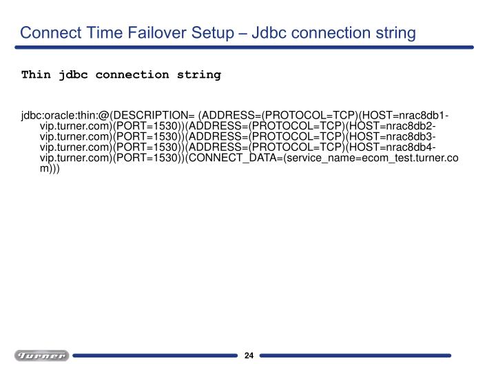 Connect Time Failover Setup – Jdbc connection string