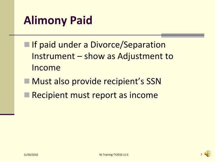 Alimony Paid