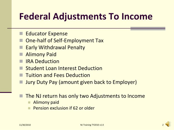 Federal Adjustments To Income