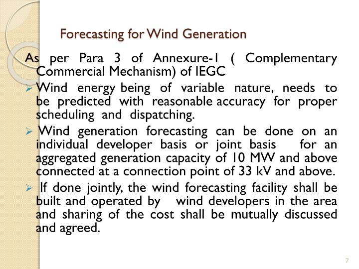 Forecasting for Wind Generation