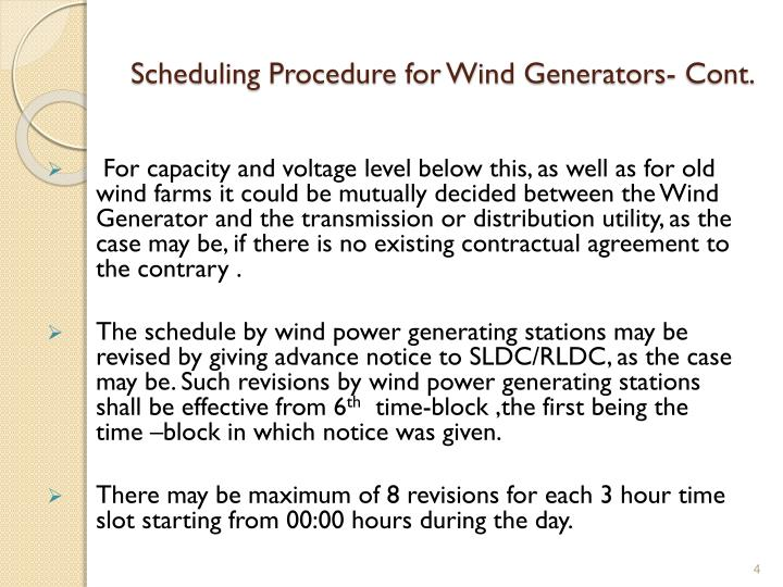 Scheduling Procedure for Wind Generators- Cont.