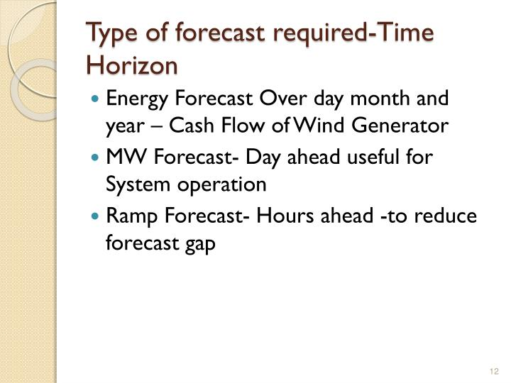 Type of forecast required-Time Horizon