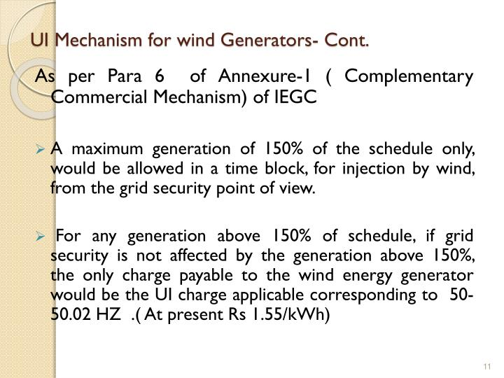 UI Mechanism for wind Generators- Cont.