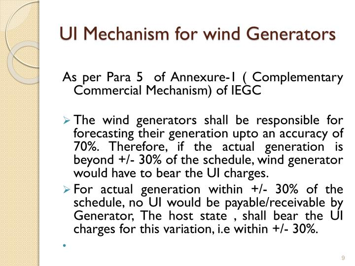 UI Mechanism for wind Generators