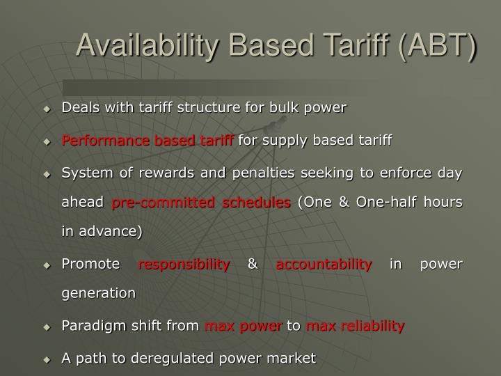 Availability Based Tariff (ABT)
