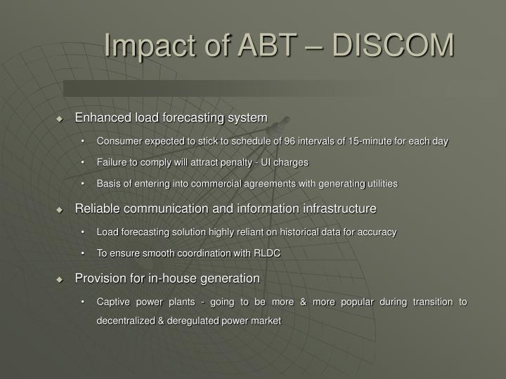 Impact of ABT – DISCOM