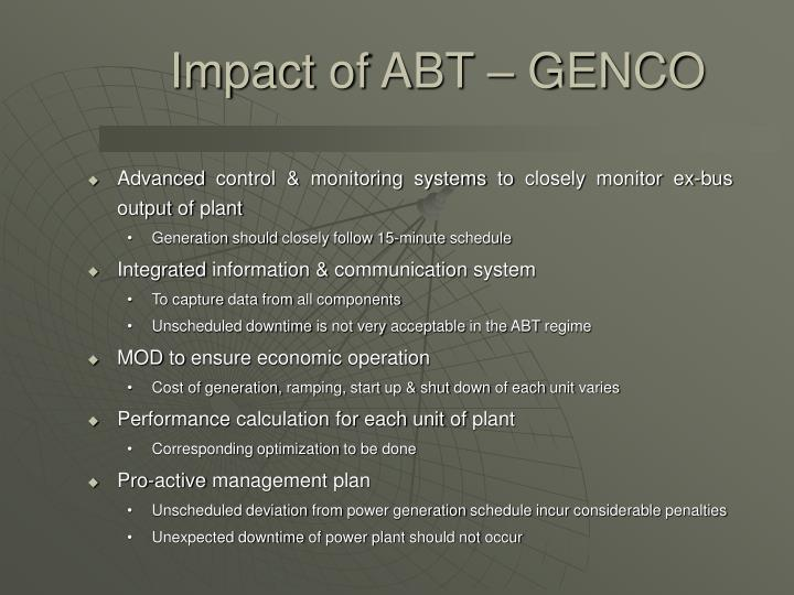 Impact of ABT – GENCO