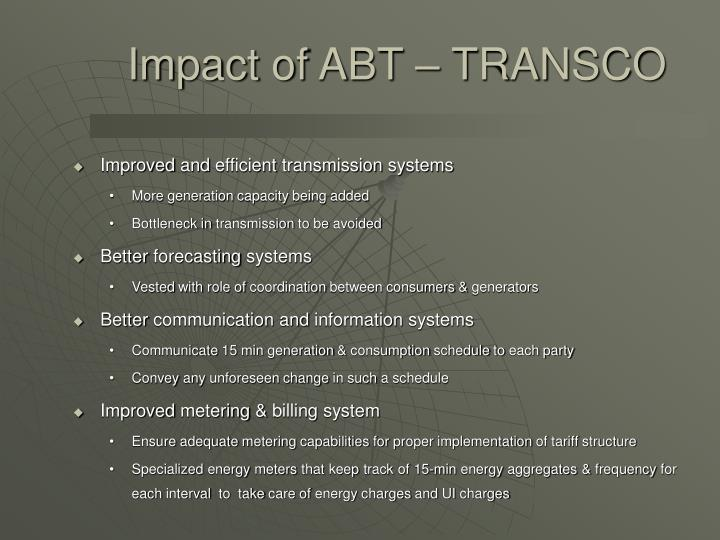 Impact of ABT – TRANSCO