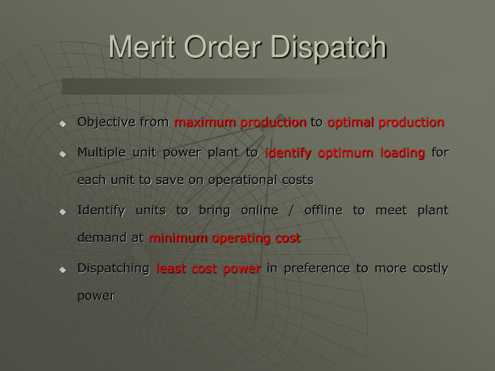 Merit Order Dispatch