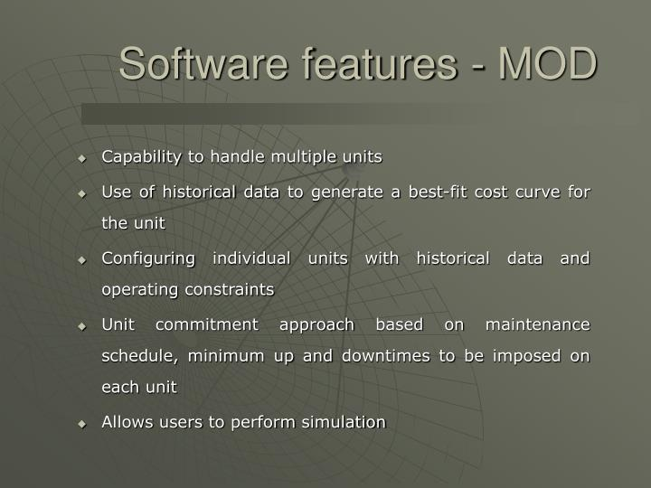 Software features - MOD
