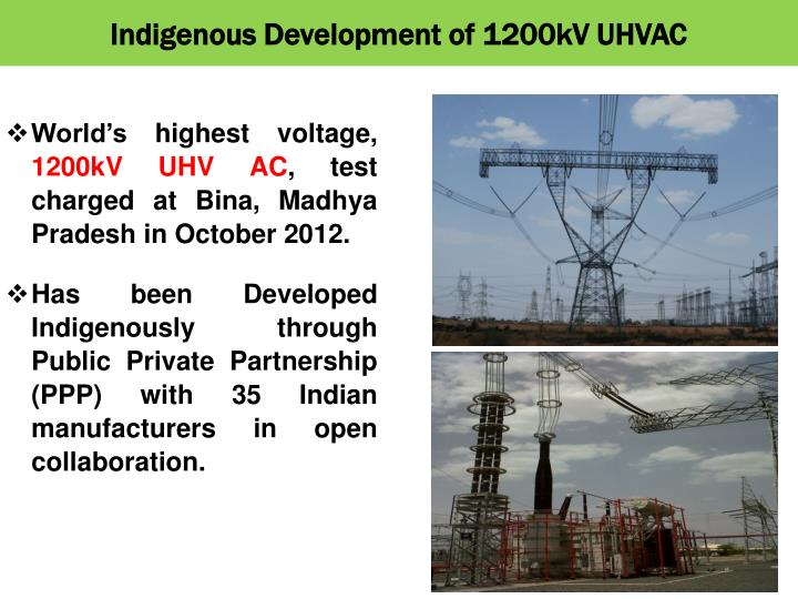 Indigenous Development of 1200kV UHVAC