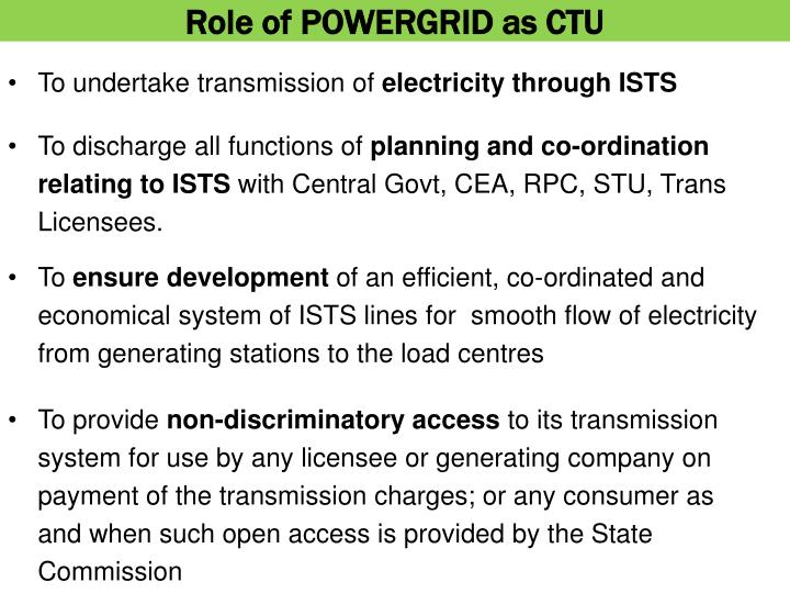 Role of POWERGRID as CTU