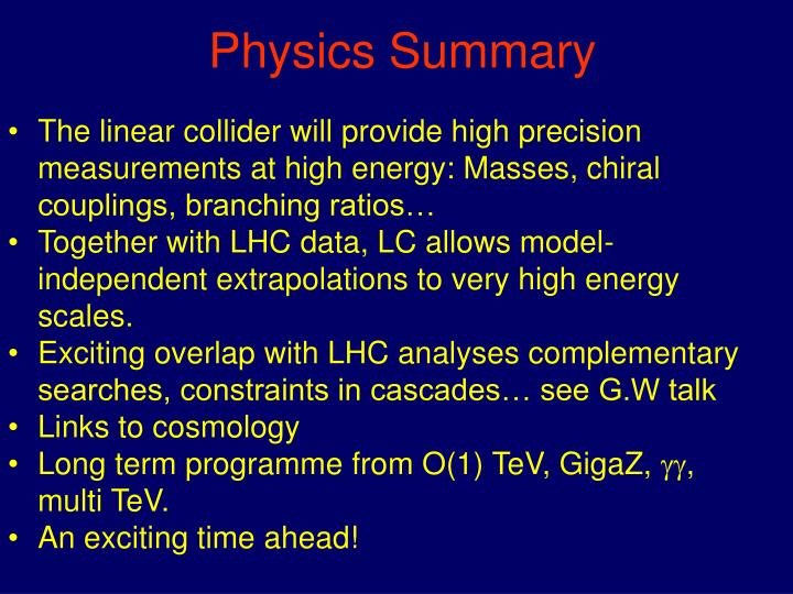 Physics Summary