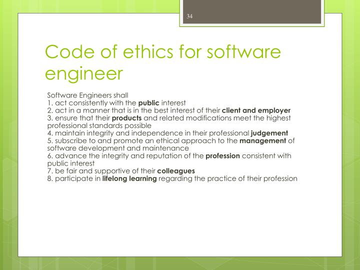 Code of ethics for software engineer