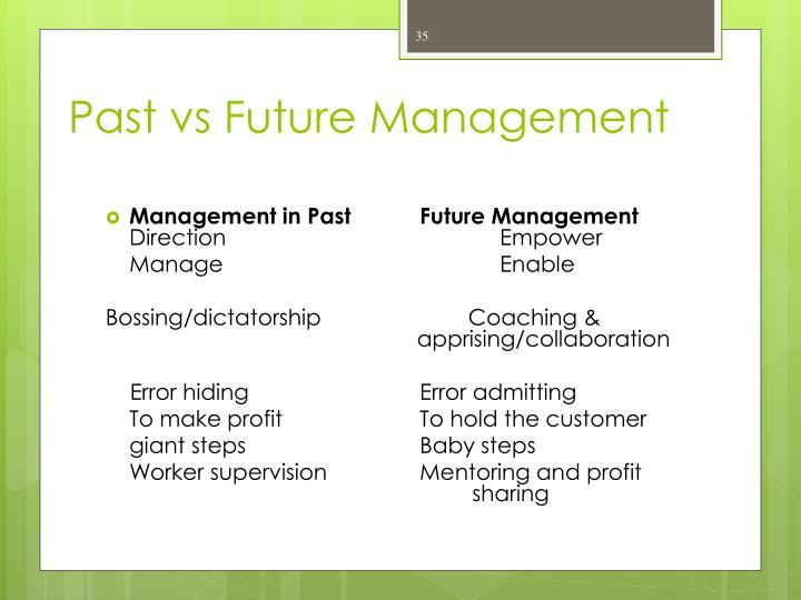 Past vs Future Management