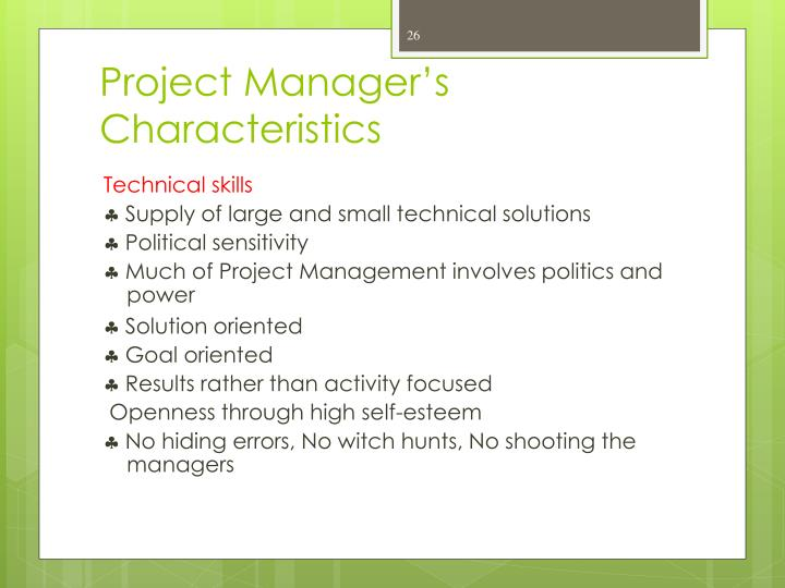 Project Manager's Characteristics