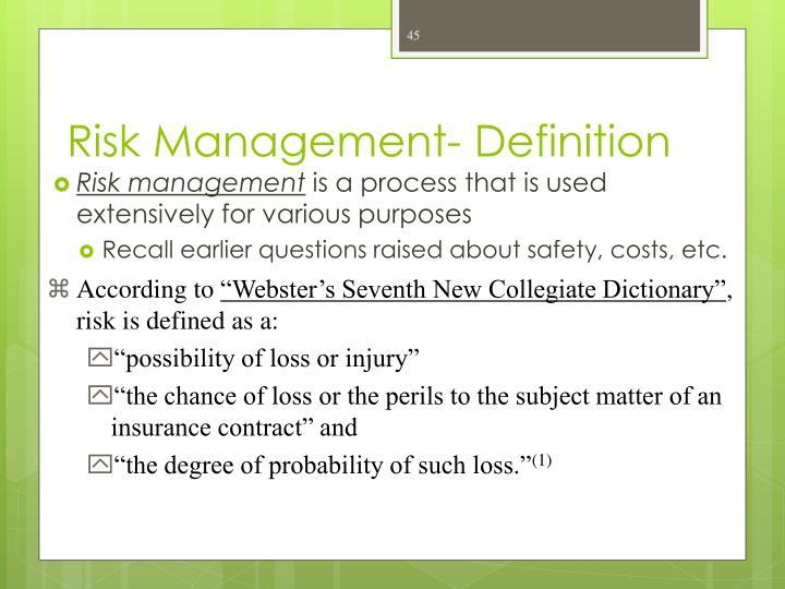Risk Management- Definition